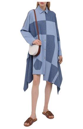 Женское хлопковое платье LOEWE голубого цвета, арт. S540Y09W01 | Фото 2 (Стили: Гранж; Рукава: Длинные; Случай: Повседневный; Длина Ж (юбки, платья, шорты): До колена; Женское Кросс-КТ: Платье-одежда; Материал внешний: Хлопок)