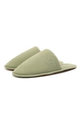 Женского домашние туфли из замши LOEWE зеленого цвета, арт. L814291X05 | Фото 1 (Материал внутренний: Натуральная кожа; Женское Кросс-КТ: тапочки-домашняя обувь; Подошва: Плоская; Материал внешний: Замша)