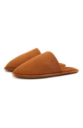 Женского домашние туфли из замши LOEWE коричневого цвета, арт. L814291X05 | Фото 1 (Материал внутренний: Натуральная кожа; Женское Кросс-КТ: тапочки-домашняя обувь; Подошва: Плоская; Материал внешний: Замша)