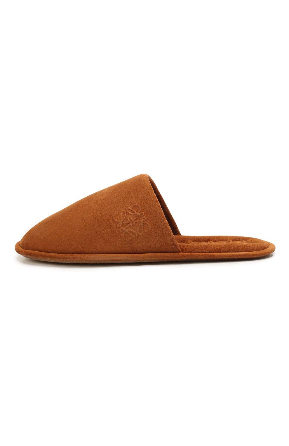Женского домашние туфли из замши LOEWE коричневого цвета, арт. L814291X05 | Фото 3 (Материал внутренний: Натуральная кожа; Женское Кросс-КТ: тапочки-домашняя обувь; Подошва: Плоская; Материал внешний: Замша)