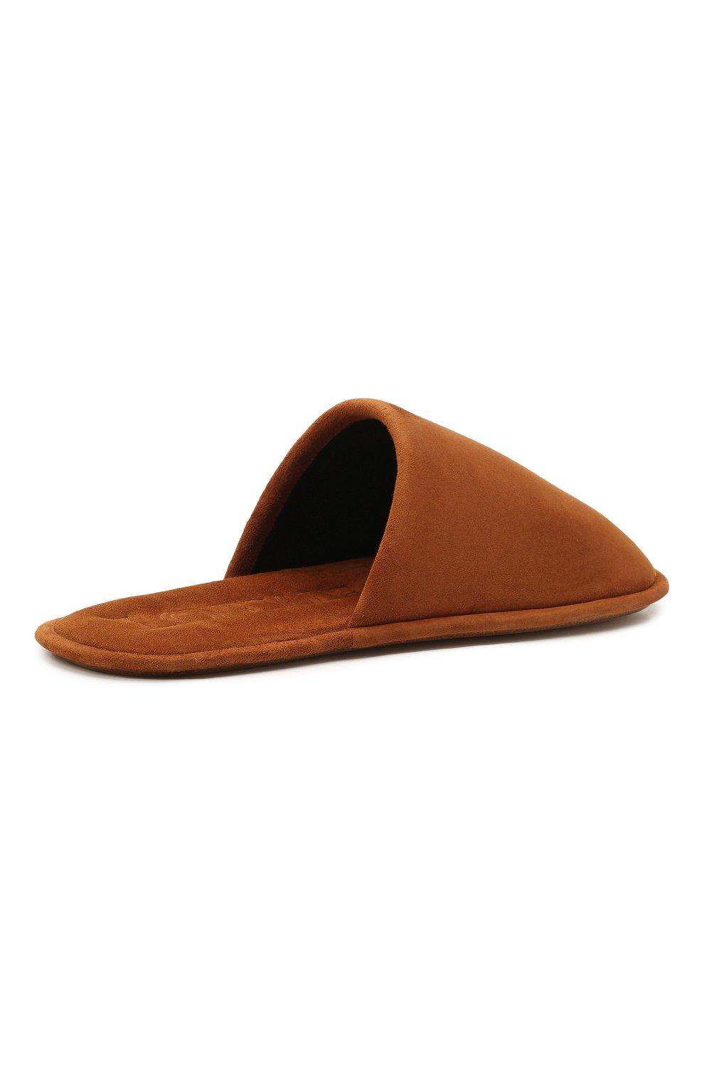 Женского домашние туфли из замши LOEWE коричневого цвета, арт. L814291X05 | Фото 4 (Материал внутренний: Натуральная кожа; Женское Кросс-КТ: тапочки-домашняя обувь; Подошва: Плоская; Материал внешний: Замша)