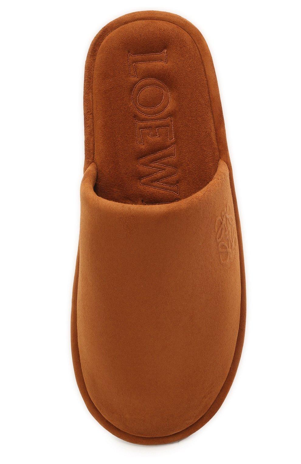 Женского домашние туфли из замши LOEWE коричневого цвета, арт. L814291X05 | Фото 5 (Материал внутренний: Натуральная кожа; Женское Кросс-КТ: тапочки-домашняя обувь; Подошва: Плоская; Материал внешний: Замша)