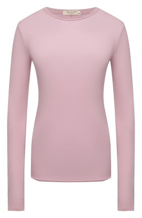 Женская хлопковый лонгслив RAG&BONE розового цвета, арт. WCC21ST082JB82 | Фото 1
