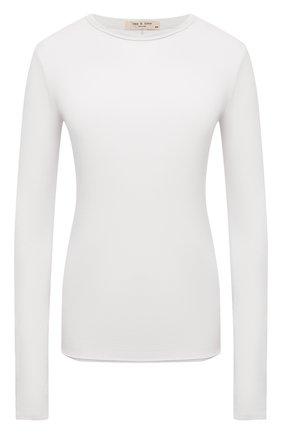 Женская хлопковый лонгслив RAG&BONE белого цвета, арт. WCC21ST082JB82 | Фото 1