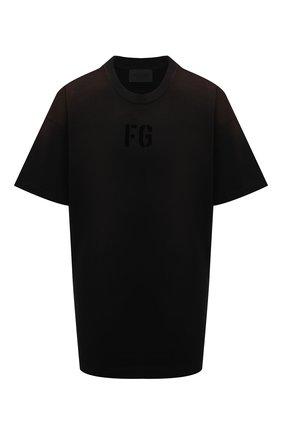 Женская хлопковая футболка FEAR OF GOD черного цвета, арт. FG50-025CTJ | Фото 1