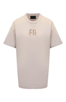 Женская хлопковая футболка FEAR OF GOD кремвого цвета, арт. FG50-025CTJ | Фото 1