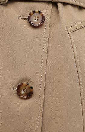 Женский хлопковый тренч BURBERRY бежевого цвета, арт. 8039248   Фото 5 (Рукава: Длинные; Длина (верхняя одежда): До колена; Материал внешний: Хлопок; Материал подклада: Хлопок; Стили: Кэжуэл)