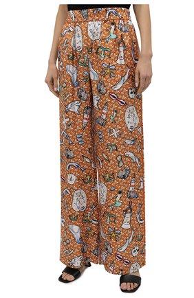 Женские шелковые брюки BURBERRY разноцветного цвета, арт. 8040086 | Фото 3