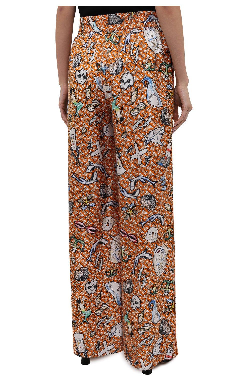 Женские шелковые брюки BURBERRY разноцветного цвета, арт. 8040086 | Фото 4