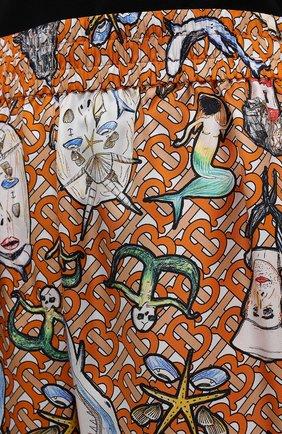 Женские шелковые брюки BURBERRY разноцветного цвета, арт. 8040086 | Фото 5