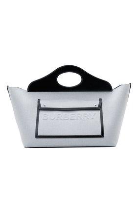 Женская сумка pocket cabas BURBERRY серого цвета, арт. 8039106 | Фото 1 (Размер: small; Сумки-технические: Сумки top-handle, Сумки через плечо; Материал: Текстиль; Ошибки технического описания: Нет ширины)