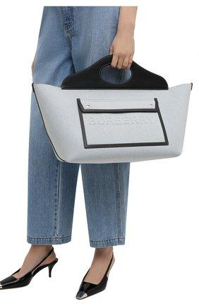 Женская сумка pocket cabas BURBERRY серого цвета, арт. 8039106 | Фото 2 (Размер: small; Сумки-технические: Сумки top-handle, Сумки через плечо; Материал: Текстиль; Ошибки технического описания: Нет ширины)