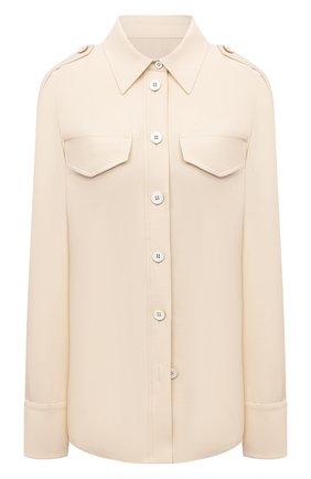 Женская рубашка из вискозы и шерсти JIL SANDER бежевого цвета, арт. JSWS605806-WS212600 | Фото 1 (Рукава: Длинные; Длина (для топов): Удлиненные; Материал внешний: Шерсть, Вискоза; Женское Кросс-КТ: Рубашка-одежда; Стили: Кэжуэл; Принт: Без принта)