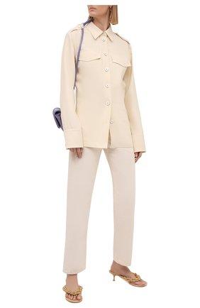 Женская рубашка из вискозы и шерсти JIL SANDER бежевого цвета, арт. JSWS605806-WS212600 | Фото 2 (Рукава: Длинные; Длина (для топов): Удлиненные; Материал внешний: Шерсть, Вискоза; Женское Кросс-КТ: Рубашка-одежда; Стили: Кэжуэл; Принт: Без принта)