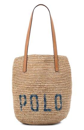 Женская сумка POLO RALPH LAUREN бежевого цвета, арт. 428746920 | Фото 1 (Материал: Растительное волокно; Размер: medium; Ошибки технического описания: Нет ширины)