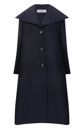 Женское пальто из шерсти и шелка LANVIN темно-синего цвета, арт. RW-C00003-4869-E21 | Фото 1