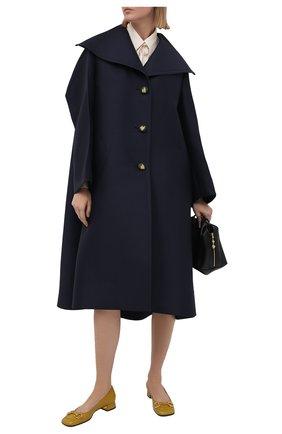 Женское пальто из шерсти и шелка LANVIN темно-синего цвета, арт. RW-C00003-4869-E21 | Фото 2