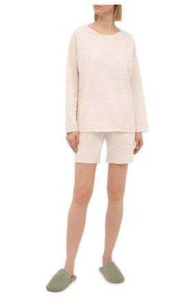 Женские шорты EVA B.BITZER светло-бежевого цвета, арт. 11322845 | Фото 2 (Длина Ж (юбки, платья, шорты): Мини; Женское Кросс-КТ: Домашние шорты; Материал внешний: Хлопок)