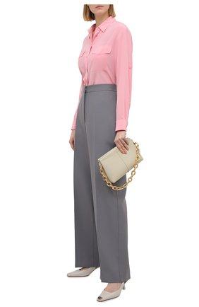 Женская шелковая рубашка BOSS розового цвета, арт. 50447798 | Фото 2