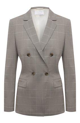 Женский жакет из шерсти и шелка BOSS серого цвета, арт. 50455668 | Фото 1