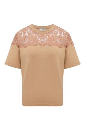 Женская хлопковая футболка I.D. SARRIERI бежевого цвета, арт. A2504   Фото 1
