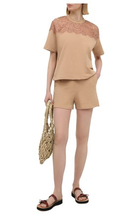 Женская хлопковая футболка I.D. SARRIERI бежевого цвета, арт. A2504   Фото 2