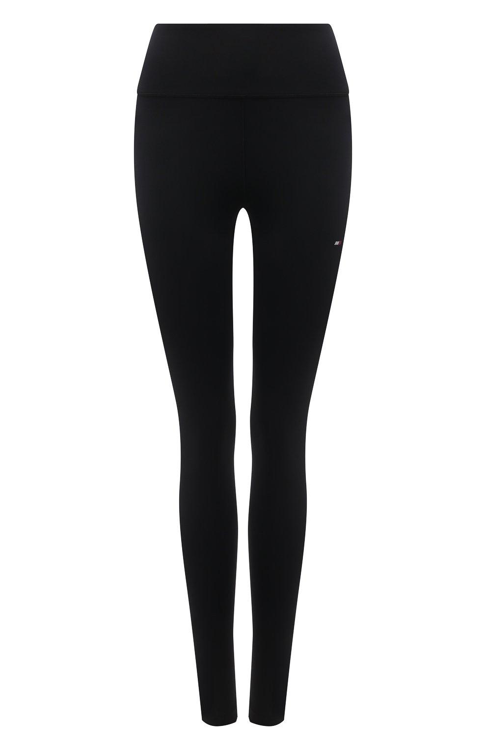 Женские леггинсы TOMMY HILFIGER черного цвета, арт. S10S100947   Фото 1 (Длина (брюки, джинсы): Стандартные; Материал внешний: Синтетический материал; Стили: Спорт-шик; Женское Кросс-КТ: Леггинсы-спорт)