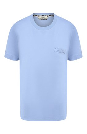 Женская хлопковая футболка FENDI голубого цвета, арт. FS7254 AFLD | Фото 1