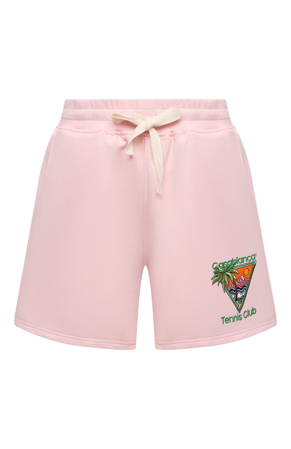 Женские хлопковые шорты CASABLANCA розового цвета, арт. WS21-JTR-037 PINK - TENNIS CLUB IC0N | Фото 1 (Женское Кросс-КТ: Шорты-одежда; Длина Ж (юбки, платья, шорты): Мини; Материал внешний: Хлопок; Стили: Спорт-шик)