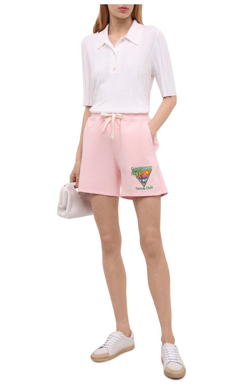 Женские хлопковые шорты CASABLANCA розового цвета, арт. WS21-JTR-037 PINK - TENNIS CLUB IC0N | Фото 2 (Женское Кросс-КТ: Шорты-одежда; Длина Ж (юбки, платья, шорты): Мини; Материал внешний: Хлопок; Стили: Спорт-шик)