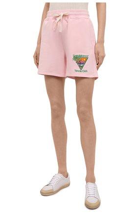Женские хлопковые шорты CASABLANCA розового цвета, арт. WS21-JTR-037 PINK - TENNIS CLUB IC0N | Фото 3 (Женское Кросс-КТ: Шорты-одежда; Длина Ж (юбки, платья, шорты): Мини; Материал внешний: Хлопок; Стили: Спорт-шик)