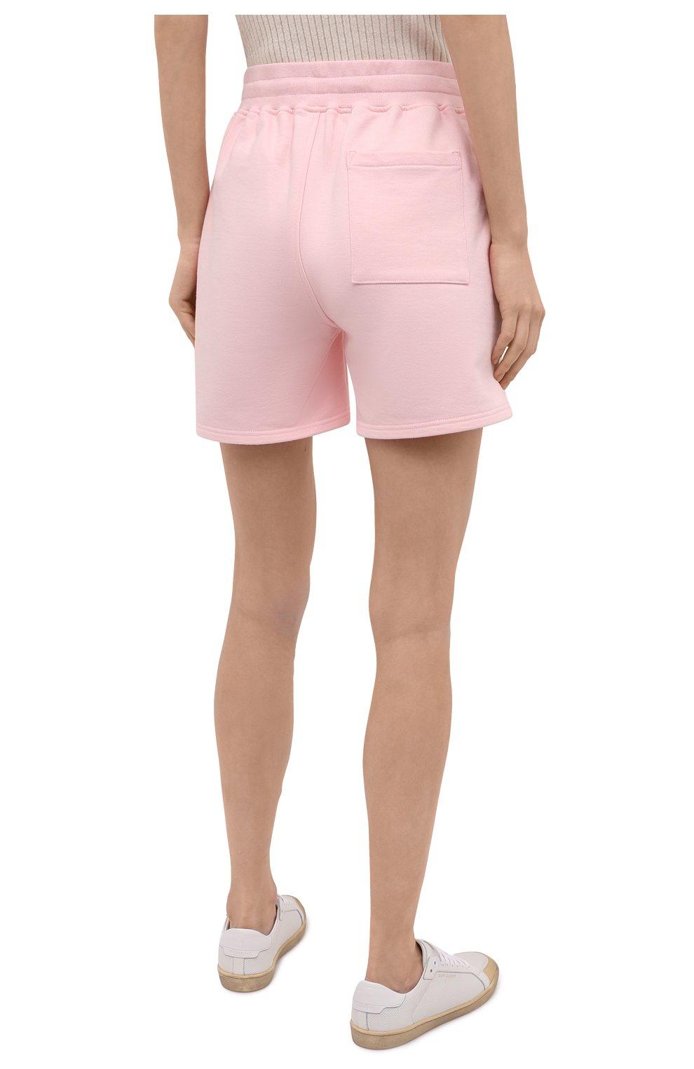 Женские хлопковые шорты CASABLANCA розового цвета, арт. WS21-JTR-037 PINK - TENNIS CLUB IC0N | Фото 4 (Женское Кросс-КТ: Шорты-одежда; Длина Ж (юбки, платья, шорты): Мини; Материал внешний: Хлопок; Стили: Спорт-шик)