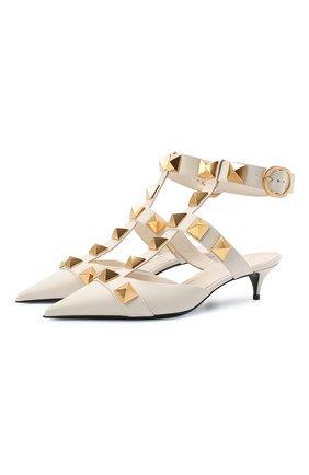 Женские кожаные туфли roman stud runway VALENTINO кремвого цвета, арт. VW0S0CB3/ZWM | Фото 1 (Каблук высота: Низкий; Подошва: Плоская; Каблук тип: Kitten heel; Материал внутренний: Натуральная кожа)