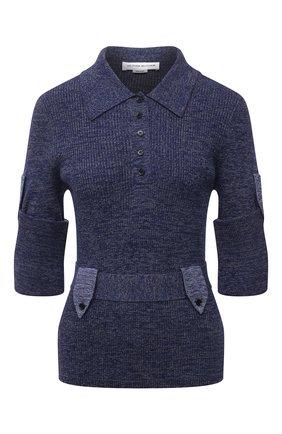 Женский хлопковый пуловер VICTORIA BECKHAM синего цвета, арт. 1221KJU002787A | Фото 1