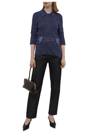 Женский хлопковый пуловер VICTORIA BECKHAM синего цвета, арт. 1221KJU002787A | Фото 2