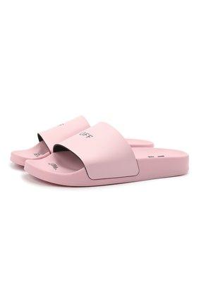 Женские резиновые шлепанцы OFF-WHITE розового цвета, арт. 0WIC002S21PLA0013000   Фото 1