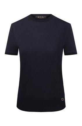 Женская льняная футболка LORO PIANA темно-синего цвета, арт. FAL5832 | Фото 1