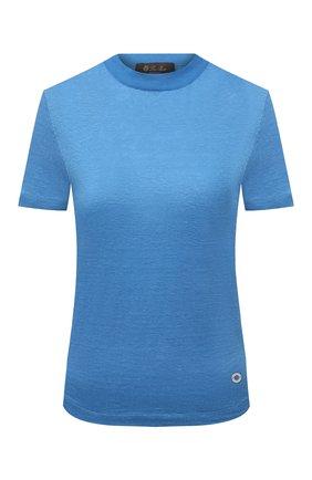 Женская льняная футболка LORO PIANA голубого цвета, арт. FAL5832 | Фото 1