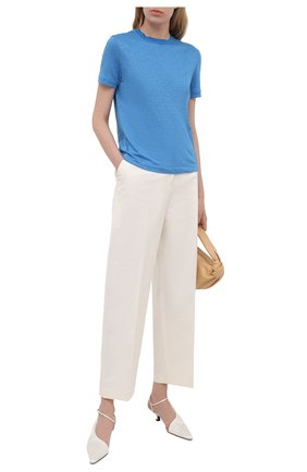 Женская льняная футболка LORO PIANA голубого цвета, арт. FAL5832 | Фото 2