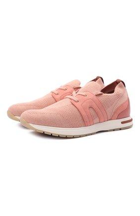 Женские текстильные кроссовки 360 lp walk LORO PIANA персикового цвета, арт. FAI7759 | Фото 1
