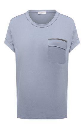Женская хлопковая футболка BRUNELLO CUCINELLI голубого цвета, арт. MPA45BM500 | Фото 1