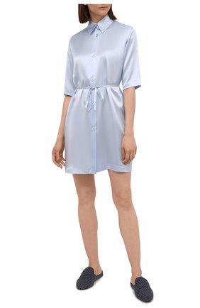 Женская шелковая сорочка LA PERLA голубого цвета, арт. 0046940 | Фото 2