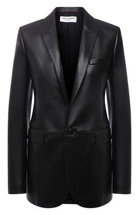 Женский кожаный жакет SAINT LAURENT черного цвета, арт. 536465/YC2TE   Фото 1