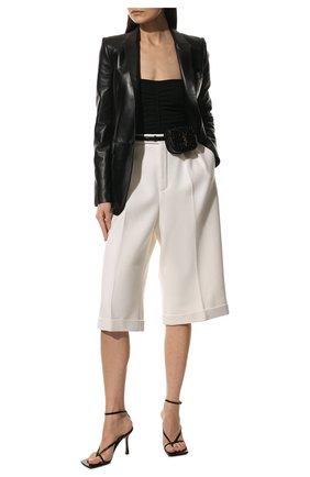 Женский кожаный жакет SAINT LAURENT черного цвета, арт. 536465/YC2TE   Фото 2