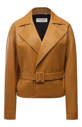 Женский кожаный жакет SAINT LAURENT коричневого цвета, арт. 658269/YCDJ2 | Фото 1