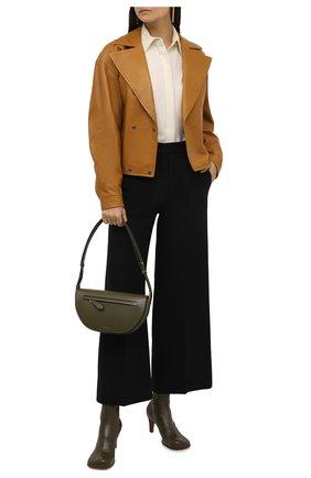 Женский кожаный жакет SAINT LAURENT коричневого цвета, арт. 658269/YCDJ2 | Фото 2