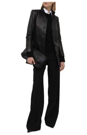 Женский кожаный жакет SAINT LAURENT черного цвета, арт. 660573/YC2ZZ   Фото 2