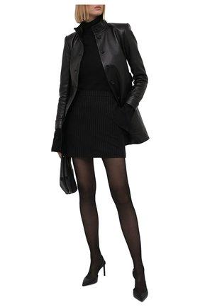 Женская шерстяная юбка SAINT LAURENT черного цвета, арт. 580279/Y127W | Фото 2