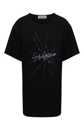 Женская хлопковая футболка YOHJI YAMAMOTO черного цвета, арт. FD-T14-075 | Фото 1