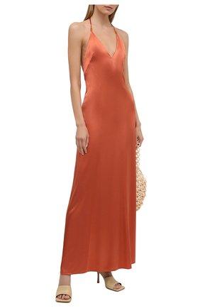 Женское платье из вискозы GALVAN LONDON оранжевого цвета, арт. DR0134 VISC0SE SATIN   Фото 2